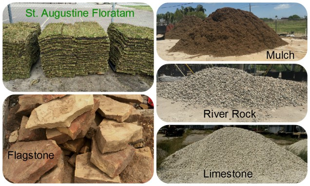 Home · Works; Bulk Material. St. Augustine Floratam, Mulch, Flagstone,  River Rock, Limestone, Decomposed Granite, Peach Rock and Bull Rock - Bulk Material - Bay Area Landscape Nursery